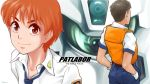 1boy 1girl alphonse_(av-98_ingram) av-98_ingram brown_eyes brown_hair gloves hands_in_pockets head izumi_noa kidou_keisatsu_patlabor looking_at_viewer mecha necktie orange_hair police police_uniform redhead science_fiction shinohara_asuma short_hair uniform vest