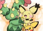 blush_stickers brown_eyes closed_eyes flower horn maractus open_mouth pichu pokemon pokemon_(creature) pokemon_(game) pokemon_bw smile standing_on_head ten_(ten_nekosupi) thorns yellow_eyes
