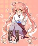 1girl :< ahoge double_bun flower kantai_collection long_hair looking_at_viewer makigumo_(kantai_collection) pantyhose personification pink_hair rabbit sitting sleeves_past_wrists solo takamura twintails yellow_eyes