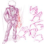 1boy absurdres chaps collage cross cross_necklace dark_skin fire hands highres k' king_of_fighters monochrome open_clothes potion_(moudamepo) short_hair sunglasses white_hair