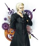 1boy beard blonde_hair blue_eyes card cloak doyamatsu earrings facial_hair gloves jewelry kingdom_hearts luxord