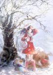 1girl arm_up bag beanie blue_hair blush boots coat handbag hat hikari_(pokemon) hikari_(pokemon)_(remake) long_hair namie-kun piloswine piplup pokemon pokemon_(creature) pokemon_(game) pokemon_dppt scarf smile snow wind