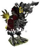 1boy armor barding bird chocobo coat criti-choco earrings eyepatch facial_hair final_fantasy final_fantasy_xiv grass hat hyur jewelry stubble triangular_headpiece white_background