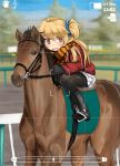 1girl akita_neru black_gloves blonde_hair boots eyebrows gloves hair_ornament horse horseback_riding jacket long_hair magu_(mugsfc) pantyhose scarf shorts side_ponytail solo striped striped_scarf viewfinder vocaloid yellow_eyes