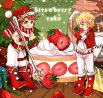 2boys blonde_hair caesar_anthonio_zeppeli chibi food fork fruit green_eyes hat honya1 jojo_no_kimyou_na_bouken joseph_joestar_(young) licking_lips multiple_boys redhead santa_hat strawberry