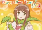 1girl 2013 blush_stickers brown_hair bubble_background green_eyes happy_new_year matsumi_yuu musical_note new_year nyagoro open_mouth orange_background saki smile snake solo