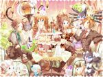 2boys 2girls ahoge alternate_color blue_eyes boots bow brown_eyes brown_hair cake chandelure cinccino cup double_bun drill_hair eating emolga food fork fruit gothita gothitelle gothorita hair_bow high_ponytail kyouhei_(pokemon) lillipup litwick long_hair mei_(pokemon) minccino multiple_boys multiple_girls naru_(andante) necktie oshawott plate pokemon pokemon_(creature) pokemon_(game) pokemon_bw pokemon_bw2 purrloin reuniclus shiny_pokemon short_hair sitting snivy solosis star strawberry striped_suit teacup teapot tepig touko_(pokemon) touya_(pokemon) twin_drills very_long_hair zorua