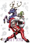 1boy absurdres animal araki_hirohiko_(style) character_request christmas english eyelashes hat highres jojo_no_kimyou_na_bouken jojo_pose lipstick long_hair looking_at_viewer makeup marlboro_(artist) merry_christmas parody pose reindeer santa_boots santa_costume santa_gloves santa_hat silver_hair solo stand_(jojo) standing style_parody tagme