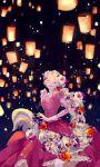 1girl blonde_hair braid closed_eyes dress flower hair_flower hair_ornament highres laces lips long_hair puffy_sleeves rapunzel rapunzel_(disney) sky_lantern tangled very_long_hair