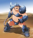1boy belly bikini bra brown_hair chest_hair desert facial_hair gouf gouf_(cosplay) gouf_lady gundam gundam_build_fighters magma_prince male mecha_musume mustache navel o-ring_top plump ral-san short_hair spikes strapless_bra swimsuit underwear whip