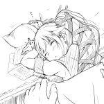 1girl blanket fairy_(kantai_collection) hair_ornament hair_ribbon kantai_collection lineart long_hair monochrome personification ponytail ribbon school_uniform serafuku skirt sleeping tsukineko yura_(kantai_collection)