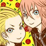 1boy 1girl antenna_hair blonde_hair blue_eyes highres kingdom_hearts kogarasimikado larxene marluxia pink_hair