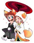 1boy 1girl animal_ears blue_eyes brown_hair cherry_blossoms earrings facial_hair flower_earrings fox_ears fox_tail ghost-pepper japanese_clothes jewelry kimono luigi mustache open_mouth princess_daisy sandals smile super_mario_bros. tabi tail white_background