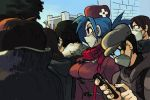 1girl alex_ahad bag blue_hair breasts casual coat comiket crowd face_mask hat mask otaku red_eyes satchel scarf skullgirls solo_focus surgical_mask tokyo_big_sight valentine_(skullgirls) winter_clothes