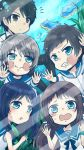 2girls 3boys against_glass black_eyes black_hair blue_eyes blue_hair brown_hair chia_tomori chibi hiradaira_chisaki isaki_kaname kihara_tsumugu long_hair mukaido_manaka multiple_boys multiple_girls nagi_no_asukara sailor_dress sakishima_hikari short_hair side_ponytail silver_hair underwater