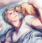 1boy bibirii blonde_hair blue_eyes dog keith_goodman licking tiger_&_bunny wink