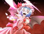 1girl bat_wings blue_hair card_(medium) dress fangs hat inyuppo open_mouth red_eyes remilia_scarlet ribbon short_hair solo spear_the_gungnir spell_card touhou wings