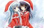 2girls akatsuki_(kantai_collection) black_eyes black_hair black_legwear blue_eyes blue_hair blush christmas hat hibiki_(kantai_collection) highres kantai_collection long_hair multiple_girls santa_costume santa_hat thighhighs wink winter