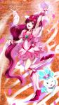absurdres boots cherry_blossoms chypre_(heartcatch_precure!) cure_blossom dress hanasaki_tsubomi heart heartcatch_precure! highres knee_boots long_hair magical_girl open_mouth petals pink_eyes pink_hair ponytail precure ribbon rikune smile standing_on_one_leg wrist_cuffs