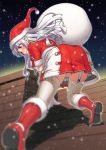 1girl blush boots chimney christmas elbow_gloves garter_straps gloves hat idolmaster kawamura_kazuma long_hair revision sack santa_costume santa_hat shijou_takane silver_hair solo thighhighs violet_eyes white_gloves white_legwear