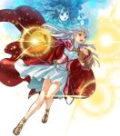 2girls bangs cape circlet curly_hair dress fire_emblem fire_emblem:_radiant_dawn fire_emblem_heroes full_body grey_background highres kita_senri long_hair magic micaiah multiple_girls official_art open_mouth sandals teeth transparent_background white_hair wide_sleeves yellow_eyes yune