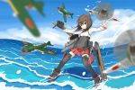1girl airplane armor bike_shorts blush boots bow_(weapon) brown_eyes brown_hair clouds crossbow flat_chest flight_deck headband headgear kantai_collection ocean personification pokasu short_hair shorts_under_skirt skirt sky taihou_(kantai_collection) thigh_boots thighhighs water weapon yokosuka_d4y
