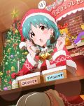 1girl :o banner basket bell blush brown_eyes christmas christmas_ornaments christmas_tree fireplace green_hair hat idolmaster idolmaster_million_live! official_art phone santa_costume santa_hat sitting solo table talking_on_phone tokugawa_matsuri translated