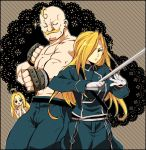 1boy 2girls ahoge alex_louis_armstrong blonde_hair blue_eyes brother_and_sister catherine_elle_armstrong closed_eyes eyelashes facial_hair fullmetal_alchemist gloves hair_over_one_eye military military_uniform multiple_girls mustache olivier_mira_armstrong open_mouth siblings sparkle sword uniform urakata_hajime weapon