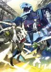 arisato_minato armband blue_eyes blue_hair chain digital_media_player evoker grey_hair gun headphones highres izanagi male narukami_yuu persona persona_3 persona_4 ron_(lovechro) school_uniform short_hair thanatos weapon yuuki_makoto