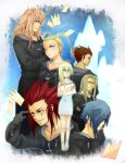 2girls 5boys antenna_hair axel blonde_hair blue_hair brown_hair cloak facial_hair gloves green_eyes hair_over_one_eye kingdom_hearts kingdom_hearts_chain_of_memories larxene lexaeus long_hair marluxia multiple_boys multiple_girls namine pink_hair redhead sandals ssmell vexen wink zexion