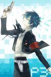 arisato_minato armband blue_eyes blue_hair evoker gun male persona persona_3 school_uniform short_hair smile solo weapon yuuki_makoto