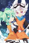 2boys fei_rune gloves goggles goggles_on_head green_eyes green_hair highres inazuma_eleven_(series) inazuma_eleven_go inazuma_eleven_go_chrono_stone looking_back male multiple_boys parted_lips saryuu_evan smile white_hair yuui1994