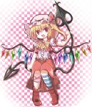 1girl adapted_costume ascot blonde_hair bow checkered checkered_background fang flandre_scarlet hat hat_bow laevatein leg_ribbon looking_at_viewer mob_cap open_mouth pointy_ears satorichan shirt short_sleeves side_ponytail skirt solo touhou vest wings
