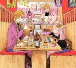 4boys amputee animal_ears apron blonde_hair blood blue_eyes bowl cake cat_ears chopsticks creature cup decapitated diavolo dio_brando disembodied_limb fang fireworks fish fish_head food formal jojo_no_kimyou_na_bouken killer_queen kira_yoshikage layer_cake long_hair menu mug multiple_boys nail_polish necktie nekogusa_(jojo) pink_hair plate poster pudding red_stone_of_aja restaurant rice sahau228 shirtless shrimp shrimp_tempura sitting sleeveless sparkler spoon stand_(jojo) standing stone_mask_(jojo) suit sweat tempura tomato translation_request wine_bottle wine_glass yellow_eyes
