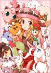 1girl black_legwear blonde_hair brown_eyes carbink clefairy cottonee dedenne floette guwatefu hat jigglypuff kirlia klefki long_hair marill mawile open_mouth pleated_skirt pokemon pokemon_(creature) pokemon_(game) pokemon_xy porkpie_hat serena_(pokemon) skirt spritzee striped striped_background sunglasses sunglasses_on_head swirlix sylveon thighhighs