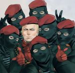 6+boys balaclava beret blonde_hair blue_eyes eyebrows finger_gun group_shot hat metal_gear_solid metal_gear_solid_3 multiple_boys revolver_ocelot salute soldier throttlee v