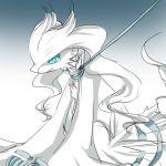 blue_eyes collar dragon gradient gradient_background koyashaka leash no_humans pokemon pokemon_(creature) reshiram sitting tears white_hair