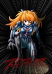 1girl blue_eyes bodysuit emphasis_lines evangelion:_2.0_you_can_(not)_advance eyepatch highres metal_gear_solid neon_genesis_evangelion one_knee orange_hair plugsuit rebuild_of_evangelion shikinami_asuka_langley souryuu_asuka_langley translation_request tsuru_sennin_(the-love-reloaded)