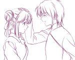 1boy 1girl blush closed_eyes couple double_bun fushigi_yuugi hair_bun hair_ribbon hand_on_another's_head mole nuriko profile ribbon smile yuuki_miaka yuzuki_kaoru
