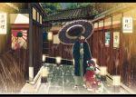 1boy 1girl araragi_koyomi black_hair japanese_clothes kaiki_deishuu kimono koimonogatari monogatari_(series) oshino_shinobu poster purple_hair rail senjougahara_hitagi short_hair umbrella yadokugaeru