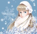 blue_eyes bow brown_hair english face gundam gundam_wing hat highres long_hair looking_at_viewer rei_(usabiba) relena_peacecraft scarf snowflakes solo
