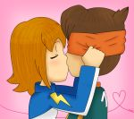 2boys artist_request blonde_hair brown_hair character_request chibi closed_eyes endou_mamoru heart inazuma_eleven kiss multiple_boys pink_background short_hair source_request yaoi