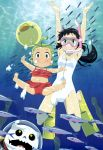 2girls absurdres arms_up black_hair character_request copyright_request diving_mask fish green_eyes green_hair highres legs long_hair multiple_girls nyantype official_art one-piece_swimsuit smile snorkel swimsuit underwater