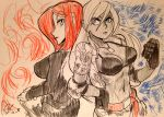 2girls abs alex_ahad back-to-back belt bikini_top blue_eyes breasts clenched_hands closed_umbrella cropped_jacket crossover dark_skin dog_tags elbow_pads hand_on_hip large_breasts long_hair marker_(medium) multiple_girls navel open_clothes open_jacket parasoul_(skullgirls) pencil_crayon_(medium) redhead skirt skullgirls sweater traditional_media turtleneck umbrella vanessa_lewis virtua_fighter white_hair