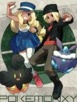 1boy 1girl bag beanie blonde_hair blue_eyes boots brown_eyes calme_(pokemon) carbink copyright_name dark_skin grin handbag hat holding holding_poke_ball noe_yuuhi open_mouth poke_ball poke_ball_theme pokemon pokemon_(game) pokemon_xy pumpkaboo serena_(pokemon) shoulder_bag sleeveless sleeveless_shirt smile thighhighs white_legwear wink