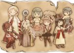 6+girls akemi_homura arithmetician_(fft) armor bare_shoulders black_hair blonde_hair blue_eyes blue_hair blush boots bow bracer breasts chemist_(fft) cosplay dress drill_hair dual_persona fake_sayaka final_fantasy final_fantasy_tactics gloves grey_eyes hair_bow hair_ribbon hairband hat head_scarf helmet hood horn kaname_madoka kneeling kunai long_hair mahou_shoujo_madoka_magica miki_sayaka momoe_nagisa monk_(fft) mouth_hold multiple_girls ninja_(fft) oda_takayuki ofuda onion_knight_(fft) pantyhose pink_eyes pink_hair ponytail potion red_eyes redhead ribbon robe sakura_kyouko scroll short_hair short_twintails skirt smile staff summoner_(fft) sword tomoe_mami twin_drills twintails two_side_up unitard violet_eyes weapon white_hair white_mage white_mage_(fft) wink yellow_eyes