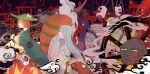 2girls absurdres bell brown_eyes brown_hair choko_(cup) chouchin_obake coat_on_shoulders futatsuiwa_mamizou glasses hat highres hime_cut japanese_clothes karakasa_obake kimono lantern leaf long_tongue multiple_girls paper_lantern profile raccoon_tail seastar smile tail tongue torii touhou umbrella waving wheel white_hair youkai yuki_onna