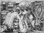 1girl alex_ahad book book_stack bow capelet crescent greyscale hair_bow hat long_dress long_hair marker_(medium) monochrome patchouli_knowledge reading sitting solo too_many_books touhou traditional_media