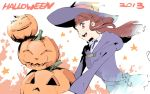 1girl 2013 akko_kagari brown_eyes brown_hair halloween hat hooded_jacket jack-o'-lantern little_witch_academia long_hair rurouni187 smile solo witch witch_hat