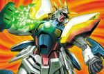 glowing gundam mecha shining_finger shining_gundam snip solo